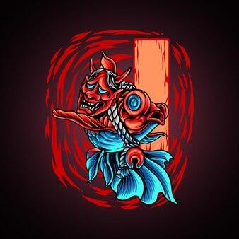 Pesce d'oro con maschera da diavolo