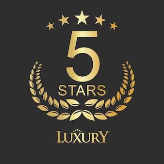 Etichetta dorata a cinque stelle di design di lusso per ostello e appartamento dell'hotel