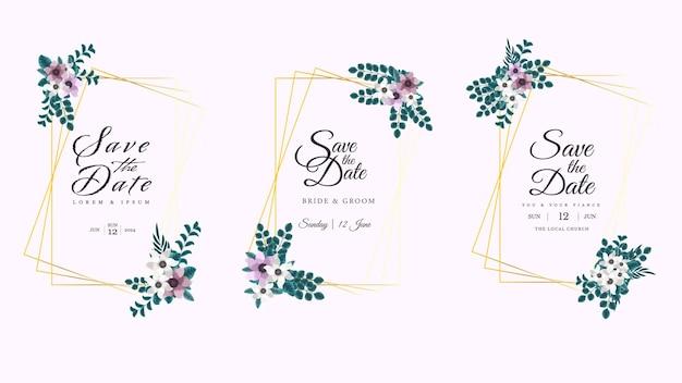 Cornice floreale dorata con bellissimi fiori di lusso lascia le viti in un design elegante