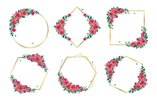 Cornice floreale dorata con collezione di acquerelli di rose rosse