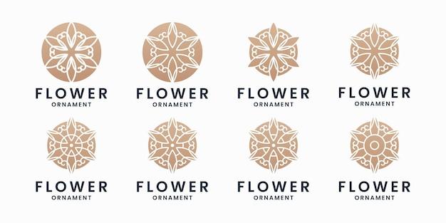 Design del logo delle collezioni di fiori d'oro