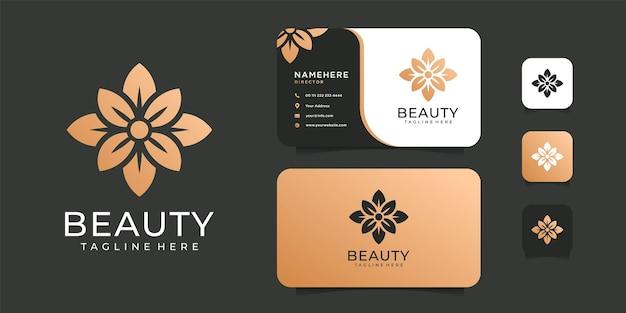Illustrazione di progettazione di logo del fiore d'oro per spa. Vettore Premium