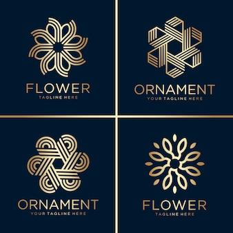 Collezione di logo dorato fiore e ornamento, linea arte, oro, bellezza, decorazione, icona