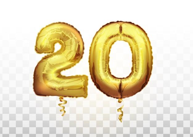 Palloncino metallico dorato numero 20 venti. palloncini dorati decorazione festa. segno di anniversario per felice vacanza, celebrazione, compleanno, carnevale, anno nuovo. palloncino dal design metallico.