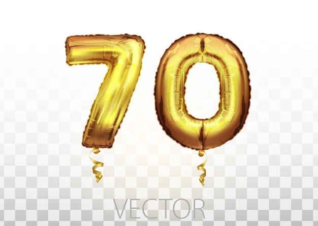 Palloncino metallico dorato numero settanta. palloncini dorati decorazione festa. segno di anniversario per buone vacanze, feste, compleanni, carnevale, capodanno. palloncino dal design metallico.