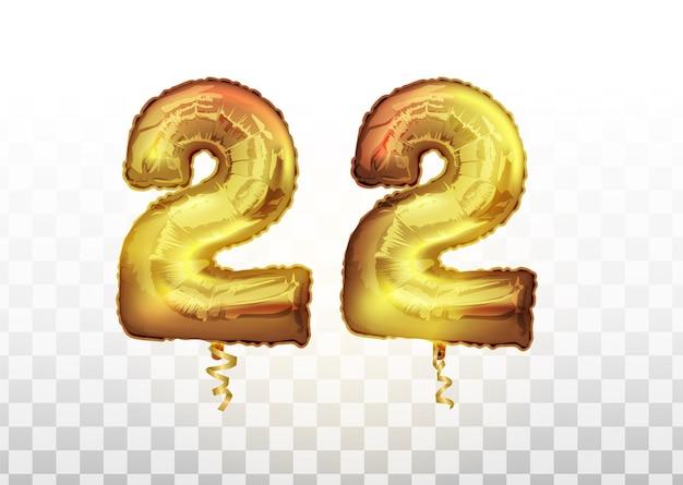 Palloncino metallico numero ventidue in lamina d'oro. numero di palloncino dorato isolato realistico di vettore di 22 per la decorazione dell'invito sullo sfondo trasparente.