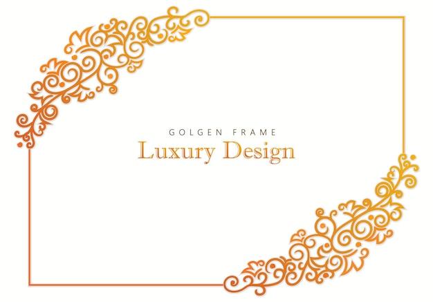 Cornice dorata, emblema calligrafico monogramma, modello di design araldico reale, segno di moda identità vittoriana, bordi floreali eleganti, hotel di lusso, elemento lineare per matrimoni. vettore