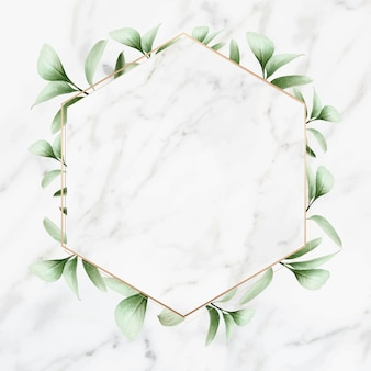 Cornice dorata su sfondo di marmo