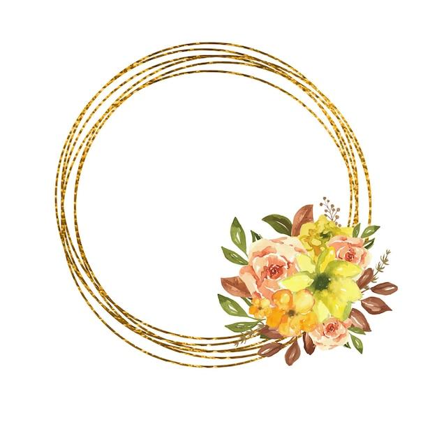 Cornice dorata con fiori ad acquerello autunnali