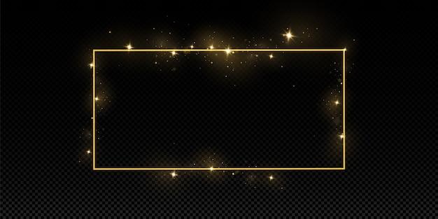Cornice dorata con effetti di luci. isolato