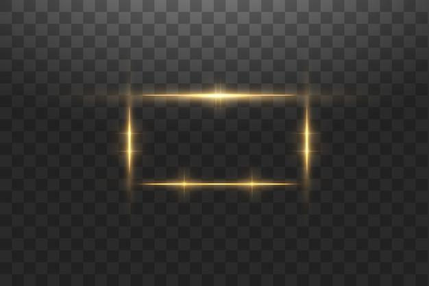Cornice dorata con effetti di luci, banner di lusso splendente. cornice dorata di linea bagliore con scintille