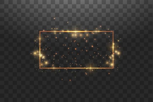 Cornice dorata con effetti di luci, banner di lusso splendente.