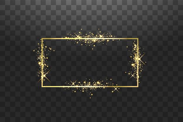 Cornice dorata con effetti di luci. striscione rettangolo splendente. isolato su sfondo nero.