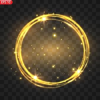 Cornice dorata con effetti di luci.