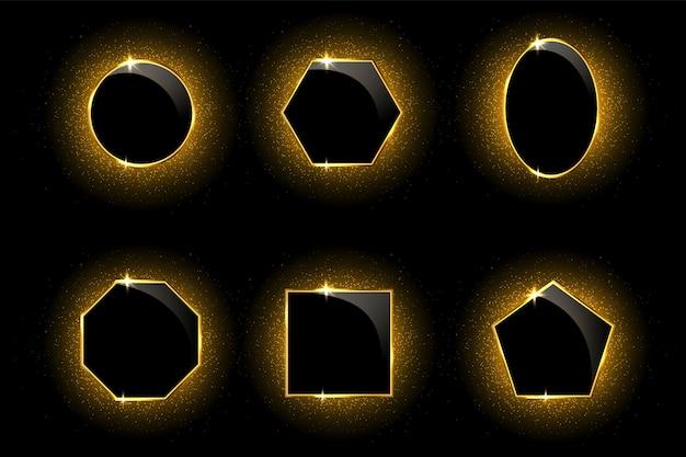 Cornici dorate su fondo nero con effetti di luce