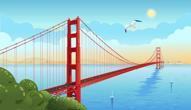 Golden gate bridge attraverso lo stretto. san francisco. illustrazione