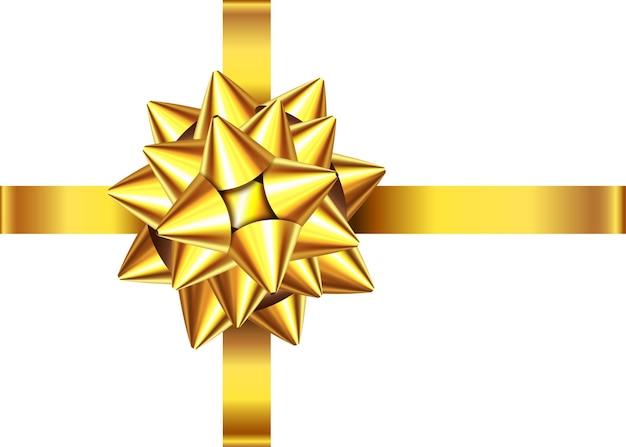 Nastro regalo dorato e fiocco isolato su sfondo bianco