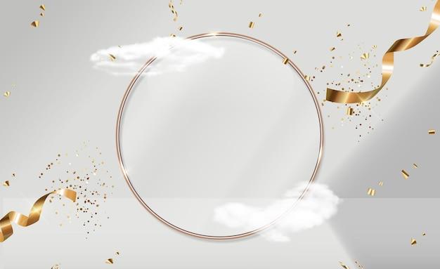 Cornice ad anello in vetro dorato, nuvole realistiche e nastro di coriandoli. display alla moda del podio vuoto