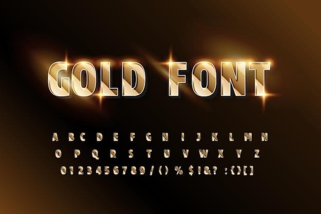 Carattere alfabeto glitter dorato. lettere e numeri in grassetto.