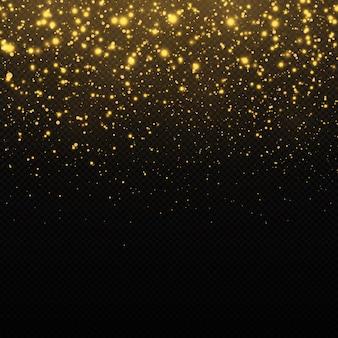 Sfondo glitter dorato effetto bokeh polvere gialla luci e stelle dorate che cadono astratte