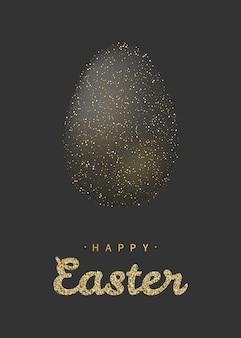 Scintillio dorato uovo di pasqua con scritte