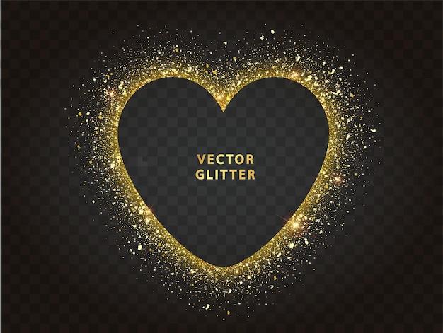 Cornice cuore glitter dorato con spazio per il testo. scintille dorate su sfondo nero.