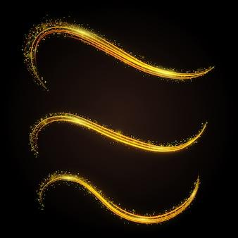 La linea magica di glitter dorati ondeggia con particelle d'oro isolate sul gradiente. polvere di stelle astratta