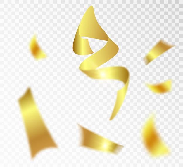 I coriandoli realistici di scintillio dorato volano su un'illustrazione festiva del fondo bianco