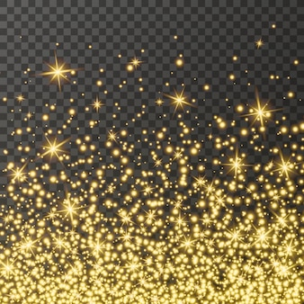 Scintillio dorato scintillante su uno sfondo trasparente sfondo colorato vivace con luci scintillanti
