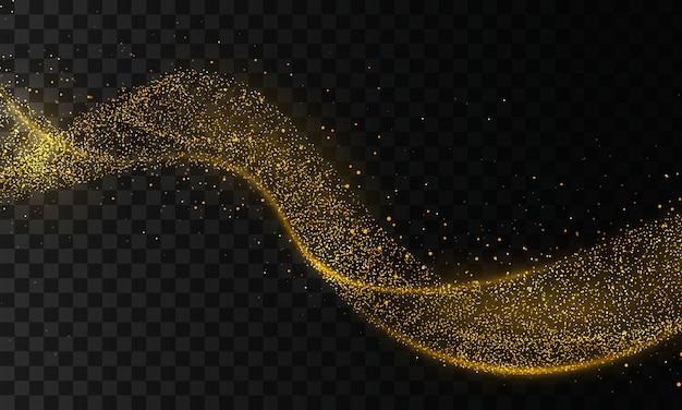 Onda scintillante dorata di traccia di cometa. la polvere di stelle scia particelle scintillanti su sfondo trasparente. onda scintillante di coriandoli d'oro. effetto luce.