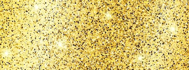 Sfondo dorato scintillante con scintillii dorati ed effetto glitter. disegno della bandiera. spazio vuoto per il tuo testo. illustrazione vettoriale
