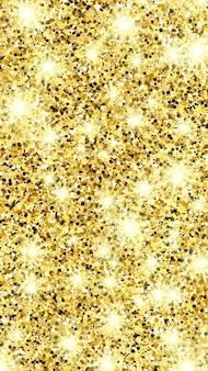 Sfondo dorato scintillante con scintillii dorati ed effetto glitter. progettazione di banner di storie. spazio vuoto per il tuo testo. illustrazione vettoriale
