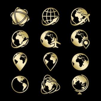 Collezione di icone di globo dorato terra su sfondo nero