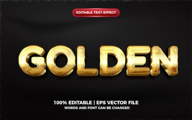 Effetto di testo modificabile 3d lucido dorato