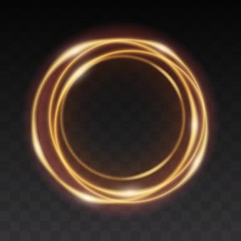 Cerchio d'ardore dorato. effetto linea leggera del cerchio d'oro