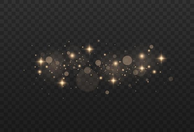 Effetti di luci incandescenti dorate scintille bokeh gialle glitter ed eleganti per il natale