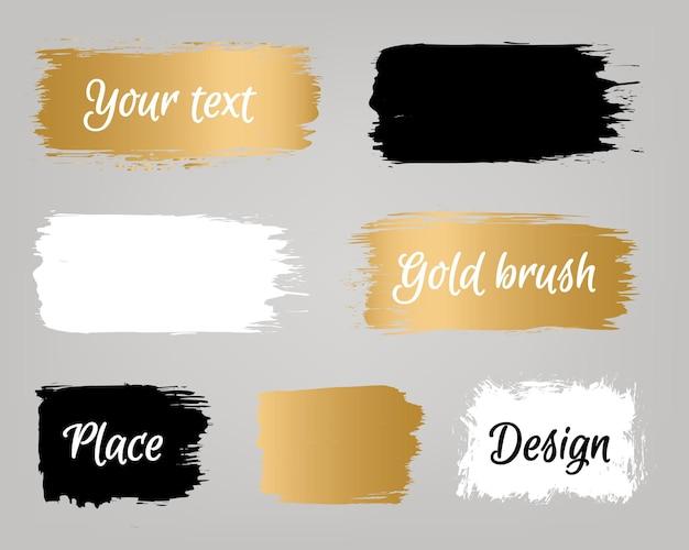 Set di banner con pennello dorato, oro, bianco e nero con testo di esempio. tratto di pennello dorato vettoriale, pennello, linea o trama, elemento di design artistico grunge sporco, scatola, cornice o sfondo per il testo