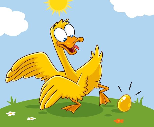 Personaggio dei cartoni animati di golden goose con uovo d'oro