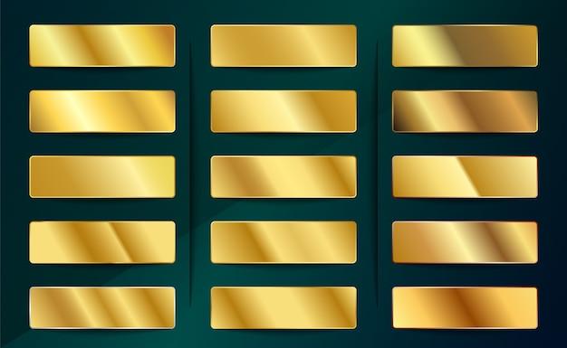 Set di campioni di sfumature dorate