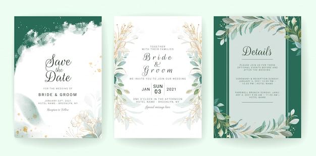 Modello di invito di nozze di verde dorato impostato con foglie, glitter e bordo.