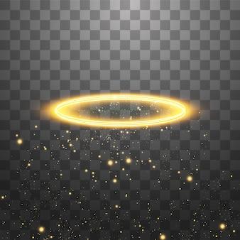 Anello angelo dorato aureola. isolato su sfondo nero trasparente, illustrazione