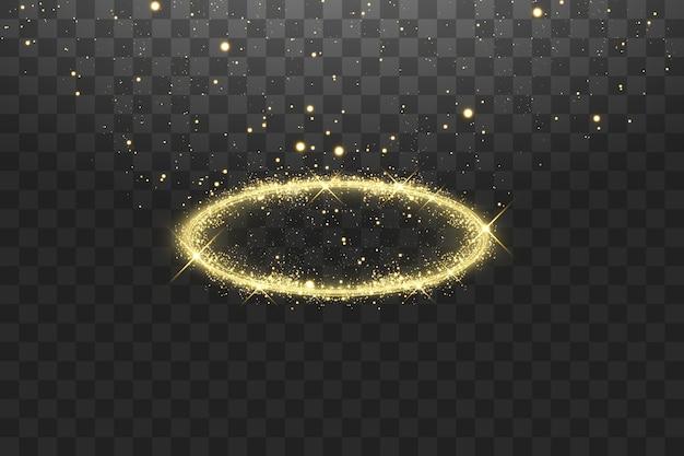 Anello angelo dorato aureola. isolato su sfondo nero trasparente,