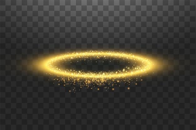 Anello angelo dorato aureola. isolato su sfondo nero trasparente.