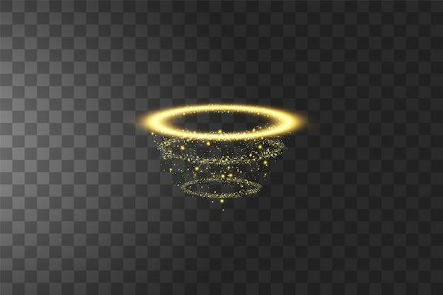 Anello angelo dorato aureola. isolato su nero trasparente