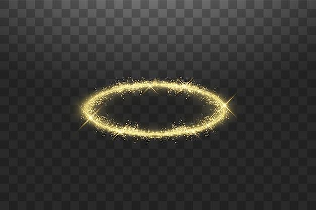 Anello angelo dorato aureola. isolato