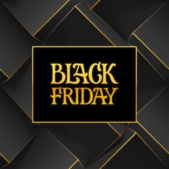 Segno di lettere scritte a mano d'oro e logo black friday su sfondo geometrico scuro con cubi 3d