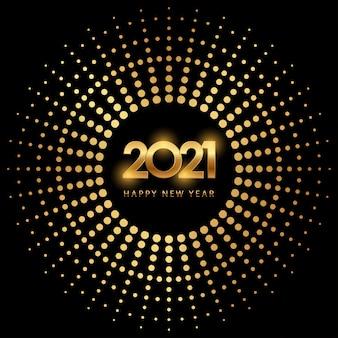 Felice anno nuovo dorato 2021 in cerchio con glitter scoppiato su colore nero