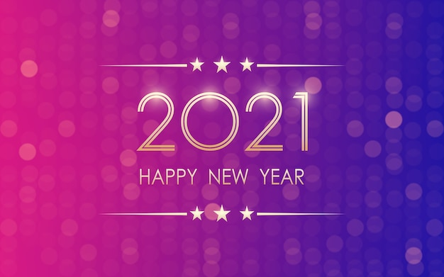 Golden felice anno nuovo 2021 con motivo bokeh in colore luce al neon