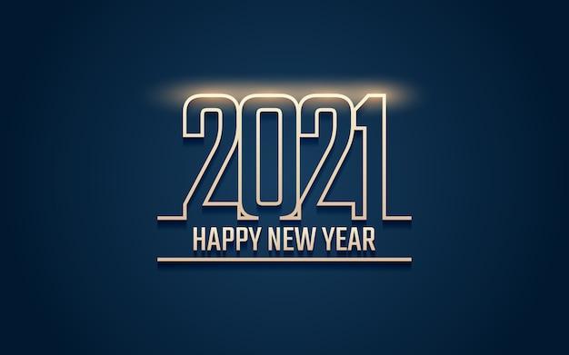 Felice anno nuovo dorato 2021 con luce incandescente
