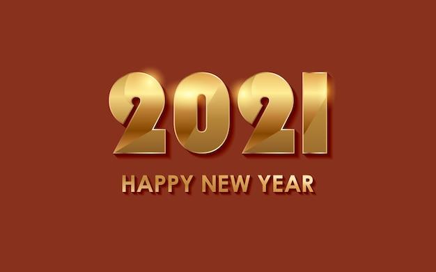 Felice anno nuovo dorato 2021 con luce splendente su sfondo di colore rosso